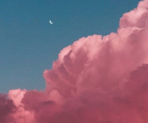 cloud, moon, and pink image