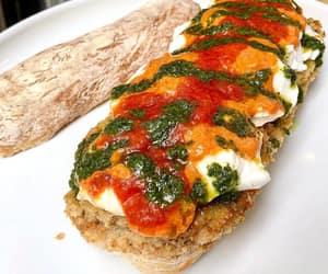 nyc, pesto, and fresh mozzarella cheese image