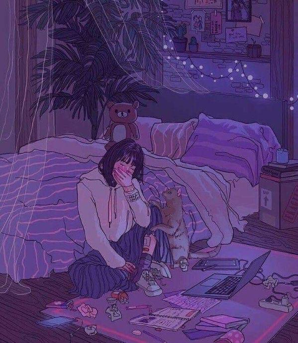sad, girl, and cat image