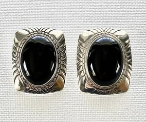 Sterling Silver Onyx Earrings Vintage Push Backs Large Concave image 0