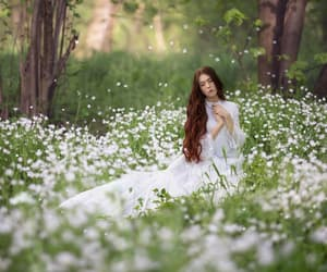 beautiful, forest, and red hair image