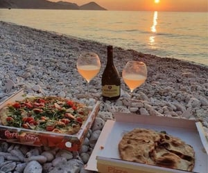 pizza, sunset, and food image