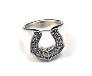 CZ Horseshoe Wide Band Ring Sterling Silver Heavy Vintage image 0