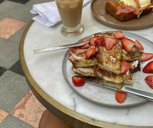 pancakes, strawberry, and cafe image
