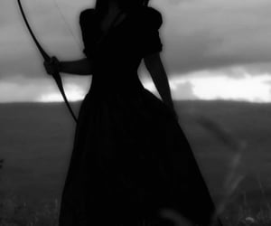 archer, black and withe, and girl image
