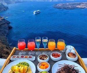 sea, Greece, and breakfast image