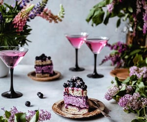cake, drink, and flowers image