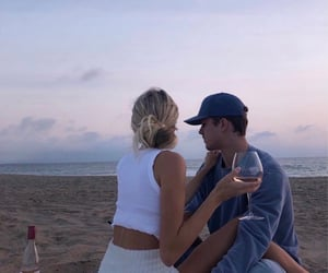beach, love, and couple image