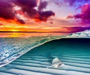 ocean, sunset, and water image