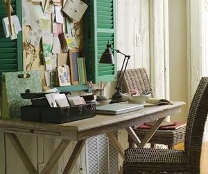 desk, vintage, and window image
