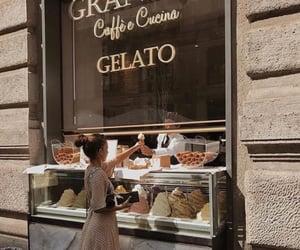 girl, food, and gelato image