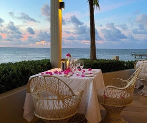 ocean, dinner, and places image