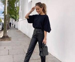 black, mini bag, and fashionable image