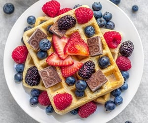 waffles, berries, and fruit image