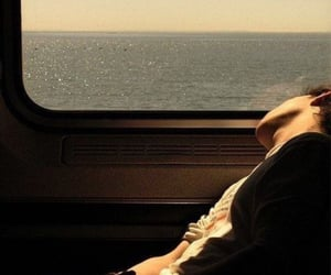 sea, boy, and train image