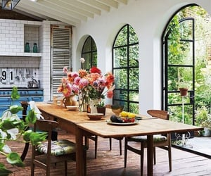 interior design, floral arrangements, and dining room image