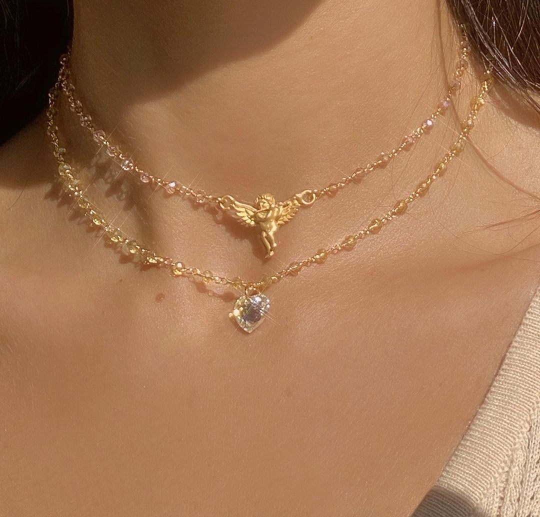 necklace, aesthetic, and gold image