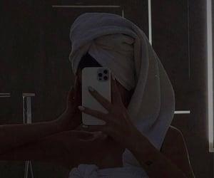 bathroom, girl, and dark image