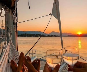 summer, sunset, and love image