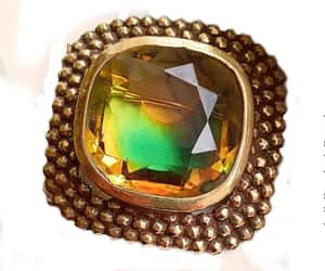 ACCESSOCRAFT NYC 2-Color Glass Brooch Beaded Antiqued Gold image 0