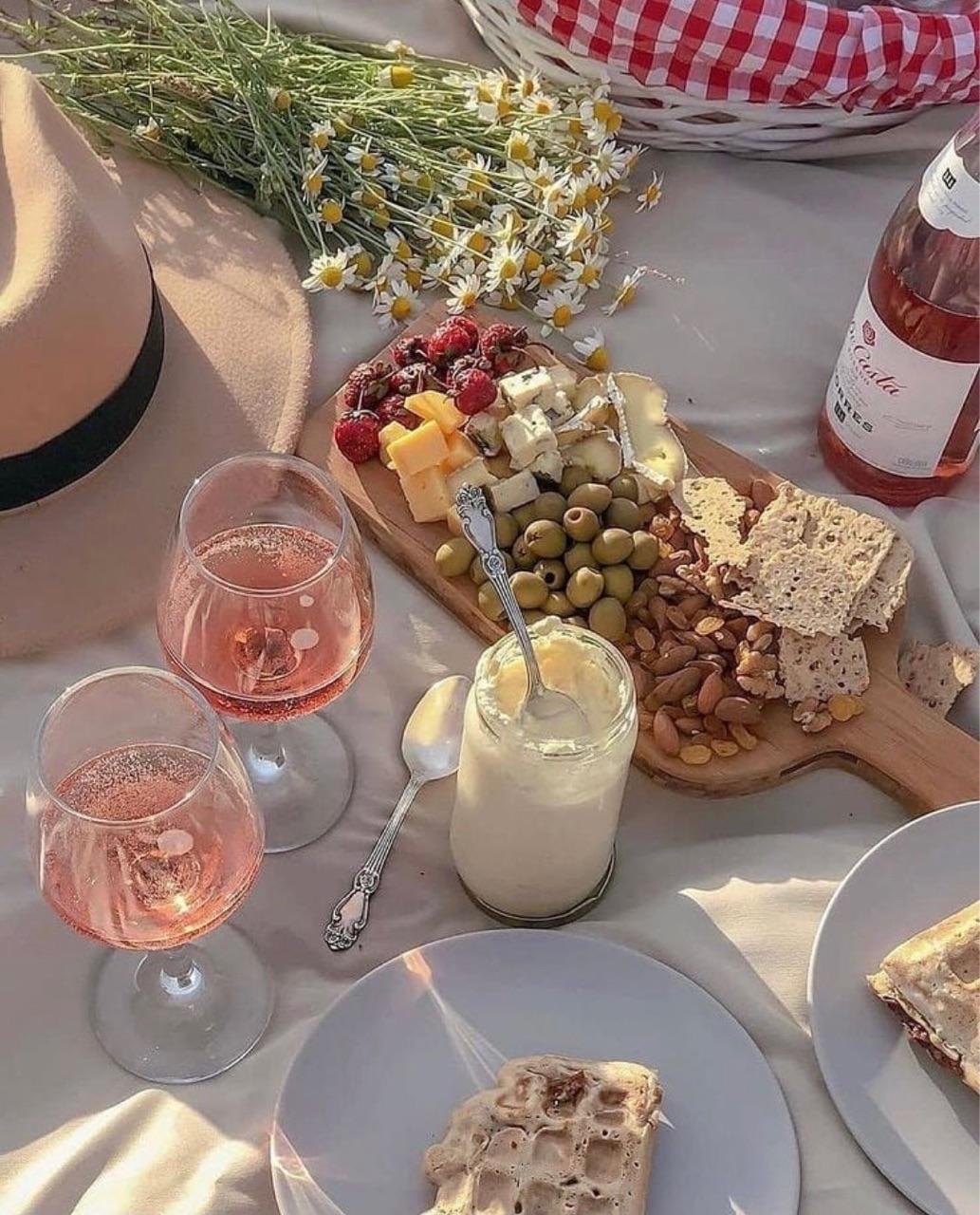 food, picnic, and wine image