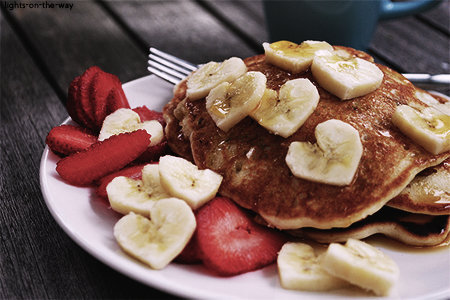 pancakes, food, and strawberry image