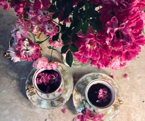 beauty, cup, and flowers image