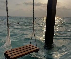 sea, swing, and aesthetic image