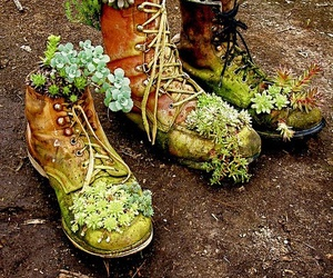 flowers, boots, and nature image