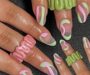 green nails, soft nails, and nails image