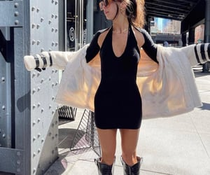 street style, knee high boots, and long sleeve top image