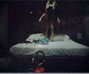 stars, bed, and girl image