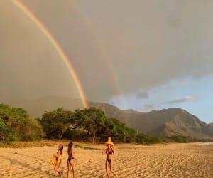 beach, rainbow, and beauty image