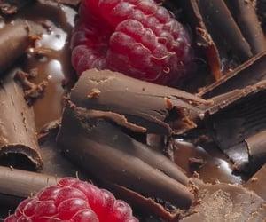 chocolate, food, and raspberries image