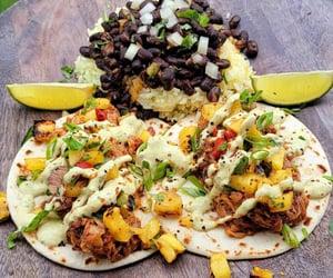 food porn, salsa, and black beans image