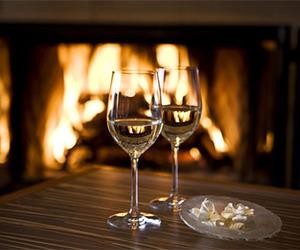 fireplace, wine, and luxury image