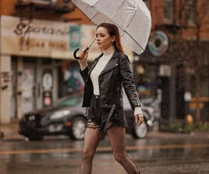 black, outfit, and rainy image