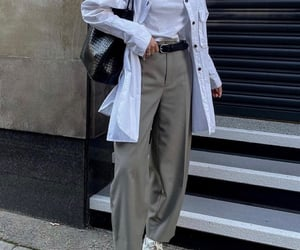 button up shirt, street style, and white tee shirt image