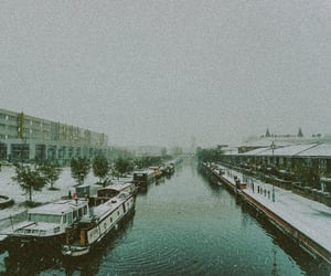 canal, fog, and london image