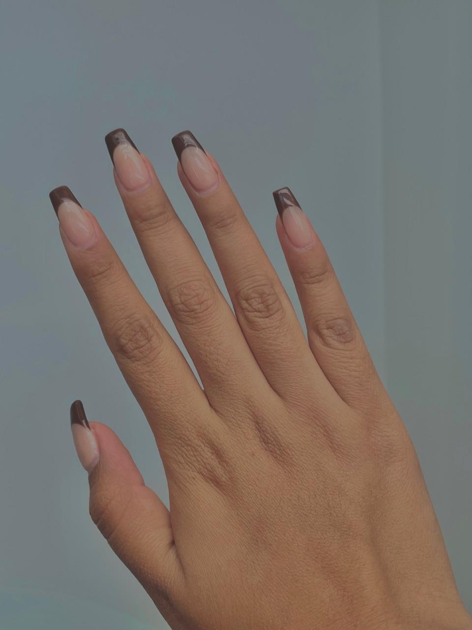 acrylic, nails, and brown nails image