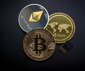 investment, cryptocurrency, and share market image