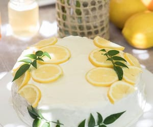 cake, leaves, and lemon image