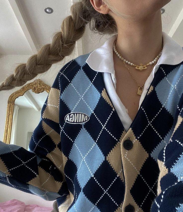 aesthetic, sweater, and argyle image