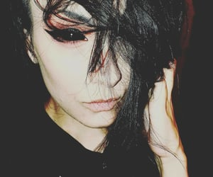 black eyes, goth girl, and goth makeup image