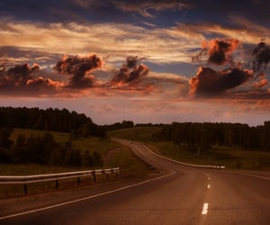 clouds, sky, and road image