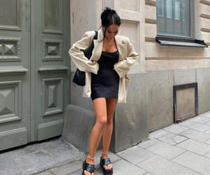 street style, chunky shoes, and beige blazer image