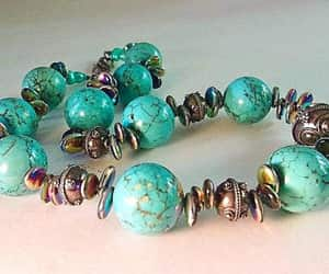 beaded necklace, turquoise necklace, and baroque pearls image