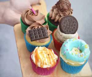 cake, chocolate, and cupcakes image