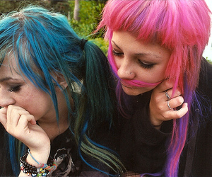 girl, blue hair, and pink hair image