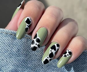 aesthetic, cow, and green nails image